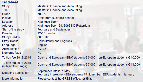 เรียนปริญญาโท Finance ที่เนเธอร์แลนด์