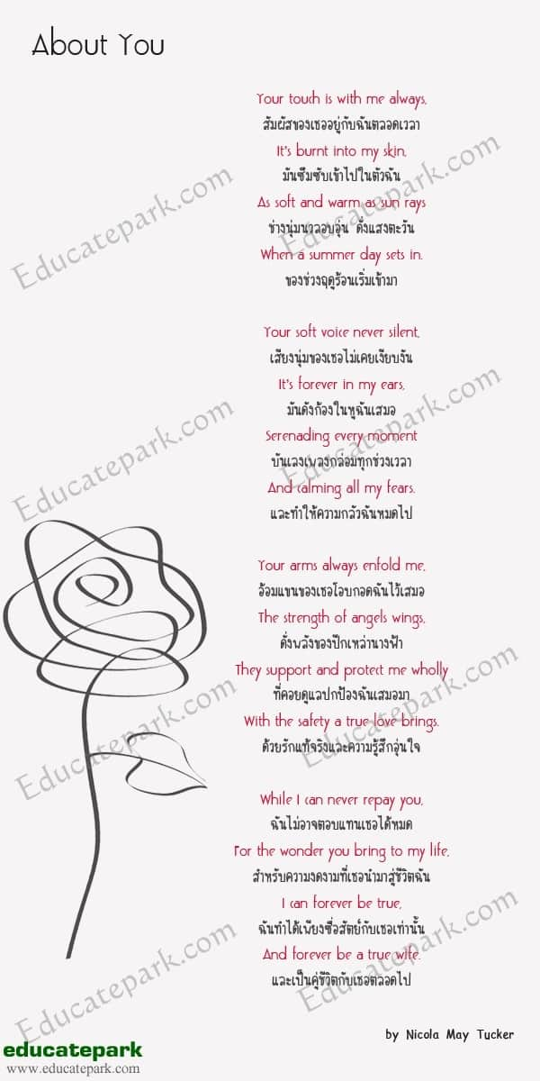 บทกลอน About You - Nicola May Tucker