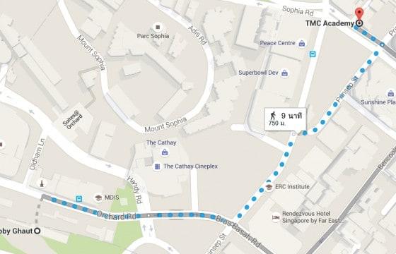 2. แผนที่การเดินทางจากสถานี Dhoby Ghaut ถึง สถาบัน TMC Academy