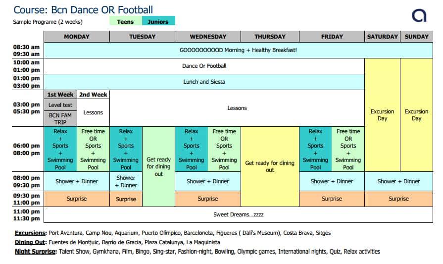 BCN Dance or Football Schedule