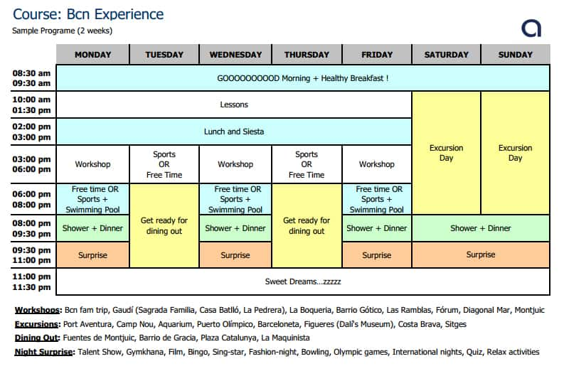 BCN Experience Schedule
