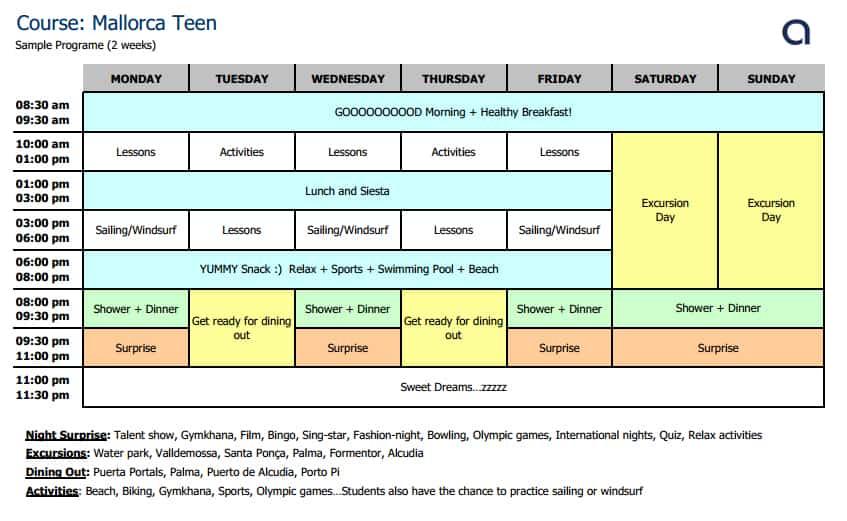 Mallorca Teen Schedule