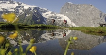 Mountainbike, Bergsee, Paar, FŸrenalp; Mountain Bike, Mountain Lake, Couple, FŸrenalp;