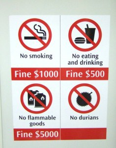 ค่าปรับในรถไฟฟ้า MRT ประเทศสิงคโปร์
