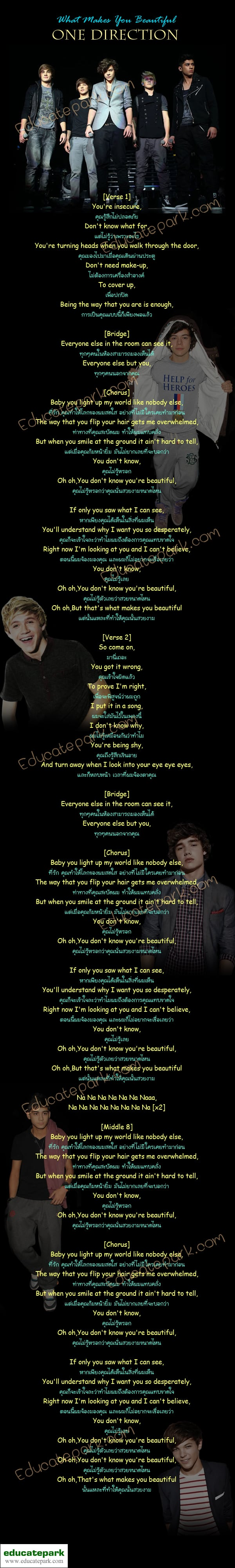 แปลเพลง What Make You Beautiful - One Direction
