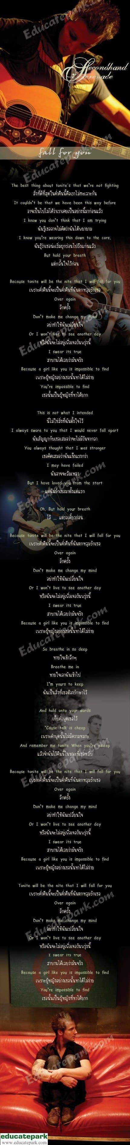 แปลเพลง Fall For You - SECONDHAND SERENADE