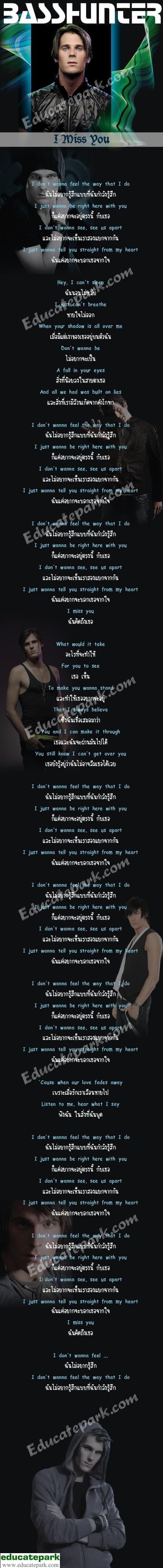 แปลเพลง I Miss You - Basshunter