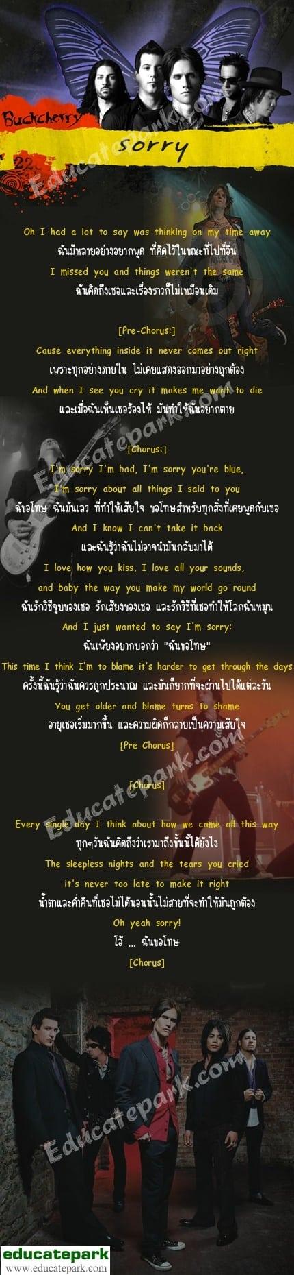 แปลเพลง Sorry - Buckcherry