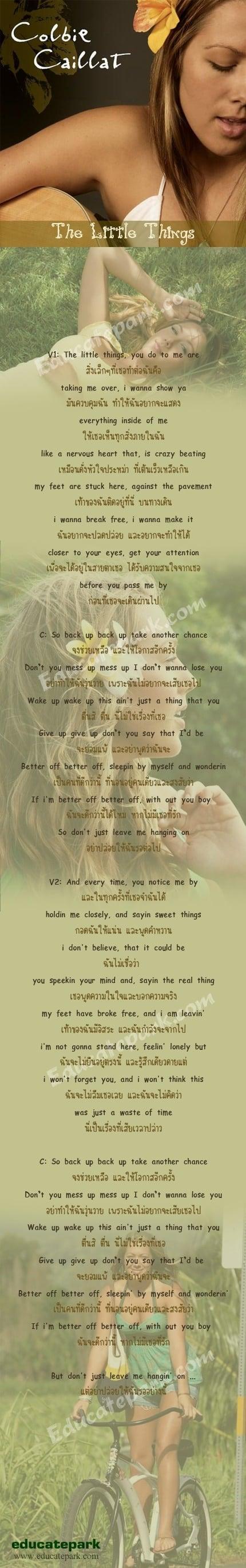 แปลเพลง The Little Things - Colbie Caillat