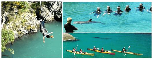 ภาพตัวอย่างกิจกรรมบันจี้จั๊มพ์,พายเรือคายัค และว่ายน้ำกับปลาโลมา