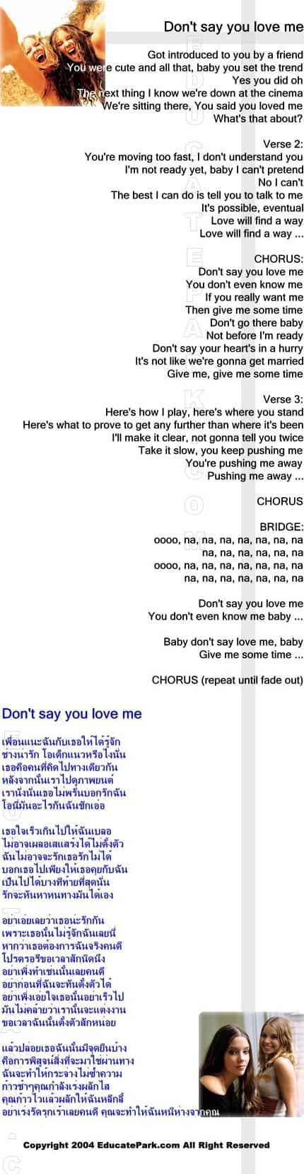 แปลเพลง Don't say you love me - M2M