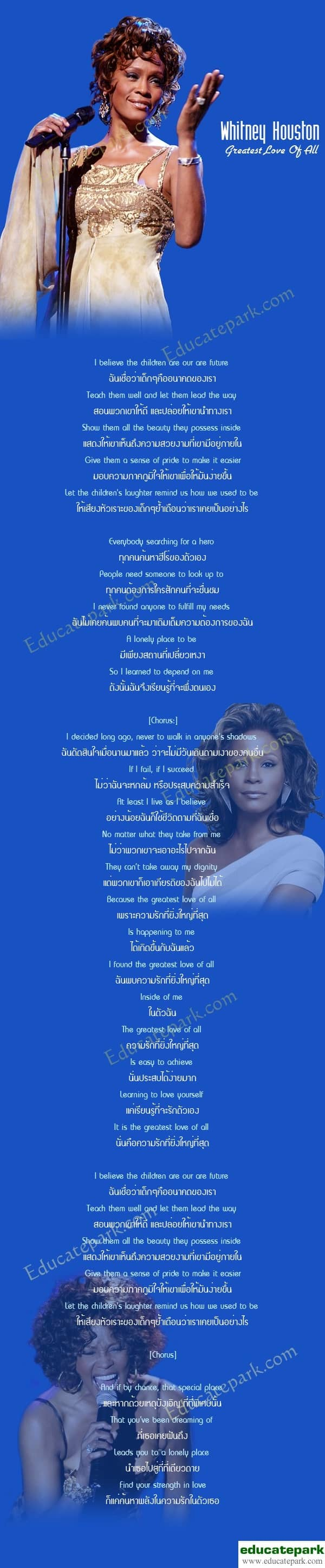 แปลเพลง Greatest Love Of All - Whitney Houston