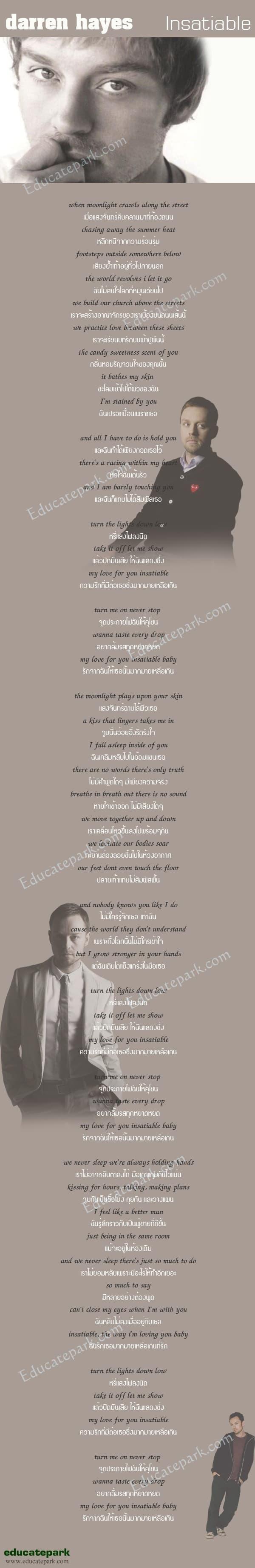 แปลเพลง Insatiable - Darren Hayes