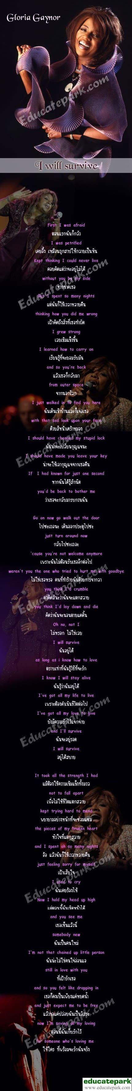 แปลเพลง I will survive - Gloria Gaynor ความหมายเพลง