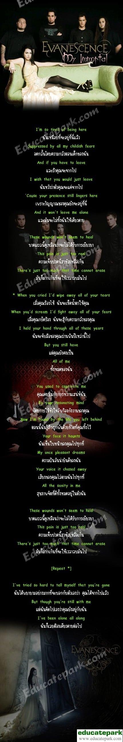 แปลเพลง My Immortal - Evanescence