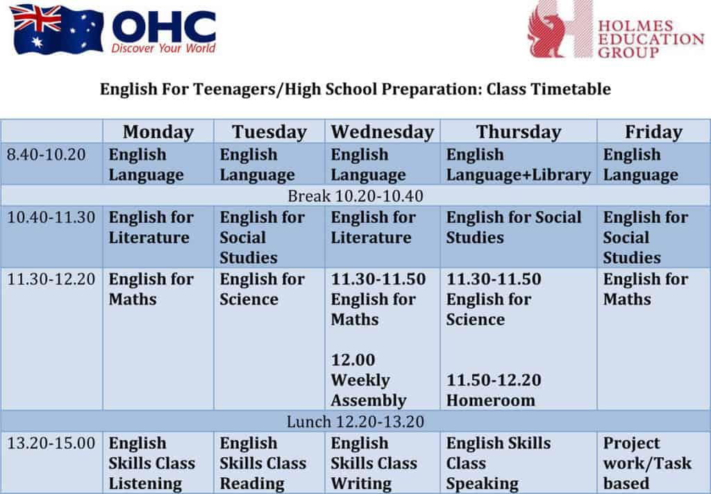 ตารางเรียน OHC เรียนซัมเมอร์ ที่ออสเตรเลีย สำหรับเด็ก