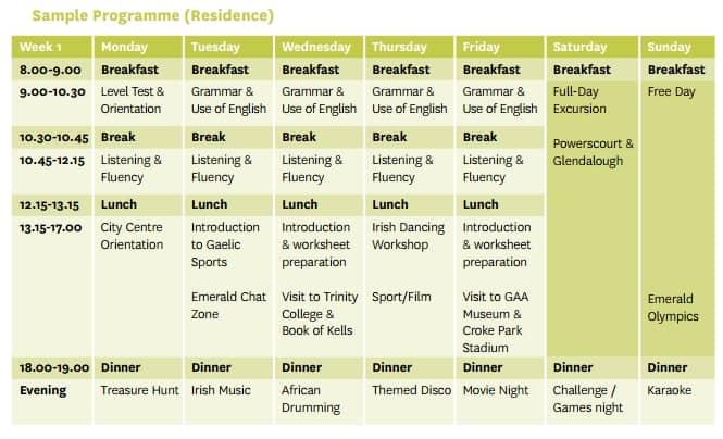 summer camp ireland schedule