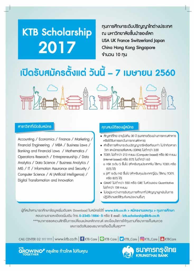 ทุนการศึกษา ธนาคารกรุงไทย 2560