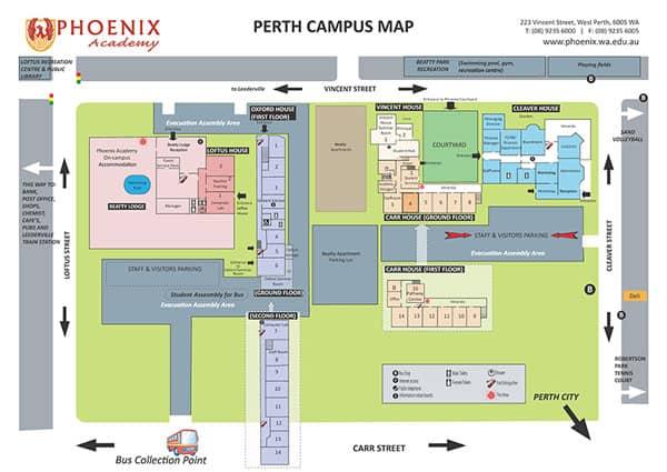 เรียนภาษาที่ Phoenix Academy - แผนที่แคมปัส